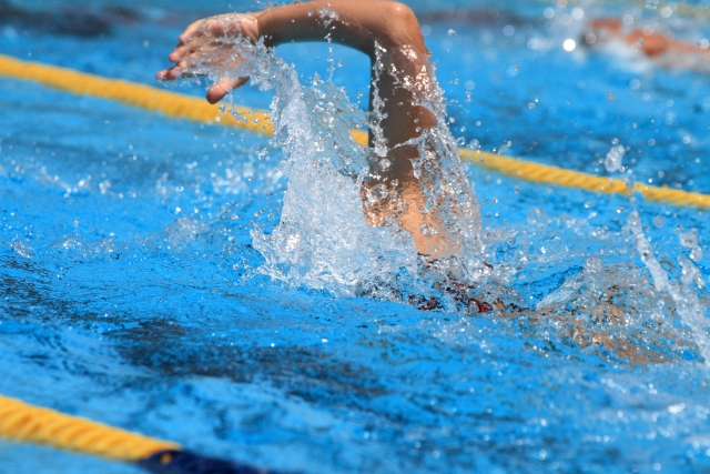 クロールで泳ぐ